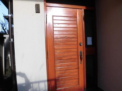 川崎市多摩区木製玄関扉塗装