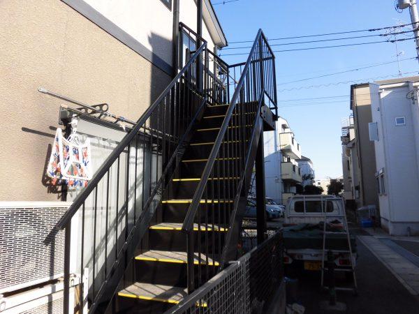 川崎市中原区で鉄骨階段の塗装
